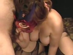 A lady with large tits acquires herself off with a toy as I suck her breasts. She cums loudly then sucks the cum out of my shlong swallowing the load. Moaning with glee this babe then rubs my soaked drained penis on her nipple.