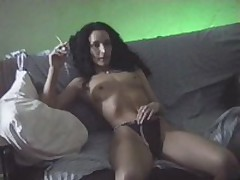 Brunette bitch with hirsute hair seduces her partner and gets her face hole seriously drilled by him and her cookie permeated in the doggy style.