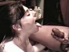 Whore Angie receives a sex cream shower from a big cock, all in slo motion. Angie sucks the cream from a big 10-Pounder until that babe is sprayed with a giant facial