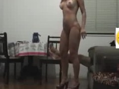 Sex bitch goddess with long flowing hair knows how to please her BF visually by getting exposed in her heels and showing a little pubic hair line on her cunt. This guy copulates her hard core on the chair and makes 'em both cum.