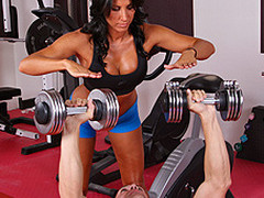 Lezley Zen's working as a personal coach and this babe's got a recent client, but this sweetheart doesn't know which of the 2 chaps it is in the gym. Johnny Sins tricks the other man into leaving the gym so this chab's alone for some one on one time with Lezley. 1st Lezley shows him some proper ways to toning some muscles, then later Johnny shows Lezley some hot work outs that gets her sweating!