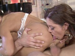 Dark Brown MILFs Francesca Le and Lisa Ann love to share, especially when it comes to sex.  They take turns French giving a kiss and feeling every other's bodies in advance of going to work on this favourable guy's hard rod.  They have a wild time taking turns banging him in advance of they kneel down for the double facial.