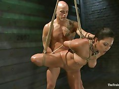 Such a girl needs a hard fuck and some humiliation and that is exactly what the hairless fellow gives helped by his buddy. He copulates her snatch from behind and then grabs her throat so that sweetheart would pay attention on what that guy says. Seeing her dominated truly makes you thinking if that sweetheart will behave from now on.