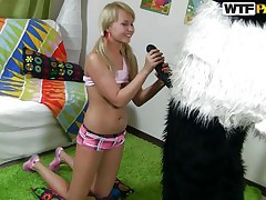 Wicked blonde gal with pony tails finds a fresh game to play with her much loved toy Mr. Panda. In the game, the panda is 'Sir Fuck-A-Lot' and blonde is competing for the quest 'Who is a Whore? '. As the panda pulls out his big black dick, blonde keeps showing her talents to prove herself a dirty wench to win!