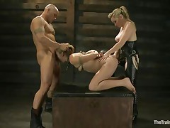 Chastity Lynn is a submissive gal eager to fulfill her darksome raunchy desires. Aiden Starr and her ally Derrick Pierce are there to give her what she needs. The mature hawt honey with a ding-dong goes on and fucks her shaved pussy, while the white fellow bashes her mouth roughly. They have a great time together.