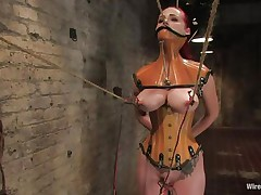 That hottie was a very bad milf, that hottie dominated and fucked a lot of cuties and now it's time for her to be disciplined. Her wet crack is starting to get truly soaked cuz the brunette domina tied her, added clamps on her nipps and pulled them hard. That hottie is immobilized and now has to suffer until that hottie will become an resigned slut.