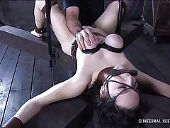 This brunette hair is milky white and her cum-hole is so constricted and perfect that they had to gape it and reveal the inside of it. Have a enjoyment watching this wench in a uncomfortable position as her big soft love muffins are squeezed and sucked and her mouth gagged. Four clamps are added on her alluring cum-hole to gape it for our sight