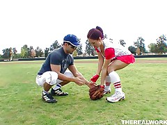 Canadian doxy Kylee wants to learn how to play baseball but the stud has something else in his mind. She in a short time ends up from the baseball field on his couch! These massive boobs, red hair and wet lips are awesome and and this stud is lucky to have her. Will that stud handle his dick better then she plays baseball?