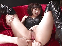 This innocent looking fur pie named Megumi is a fucking whore. That babe was laying on that ottoman burning with longing when I came and begin playing with her holes. Megumi offered her a-hole and enjoyed what I did to it. Using some sex toy I glad this bitch and stuffed her rectal gap and that soaked and soaked pussy.