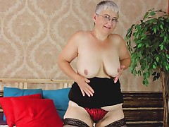 Don't be surprised! Old honeys desires to feel hot each now and then too! Granny wears stockings and daring underclothing while that babe feels herself in bed. That babe proceeds to play with her saggy milk shakes and her aging love tunnel which badly needs a cock inside of it! If Granny can only discover a chap for herself!