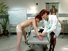 This is the kind of doc that u will barely wait to see. She's a devilish redhead with a excitement to dominated, especially other sluts! Her patient came for a routine check and found herself undressed and arse slapped until that hot arse turned red. Now that the doc slapped her she licks her booty with passion.