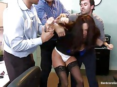 Ava Addams is a sexy French lady with nice big milk sacks and wide ass. This sexy milf got attention of several of her colleagues and one day they decided to group sex her at the office. So, James, Danny and Ramon get avid in her presence and disrobes her against her will and they begin fucking her with pleasure!