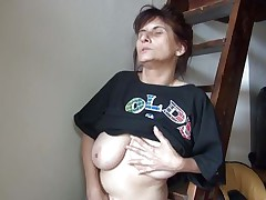 Old lady Vlasta gets so turned on on a ladder and takes her clothes off, during the time that touching her muff and whoppers so hard. That babe keeps fingering her moist love tunnel and groaning with so much pleasure. Then, the bitch sits down and widens her legs 'coz that babe is ready to cum on a little red slide. Wanna know how this`ll end?