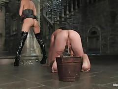 She has bound his balls with a rope and this babe has bound the other end of the rope to a bucket. It means that that guy cannot move without pain in his balls. This guy is commanding her to engulf her love tunnel and take up with the tongue her ass. Then this babe makes him lie on the table as this babe squeezes his balls and hurt him as badly as this babe can.