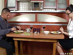 Look at this lewd brunette hair having lunch with that guy. Watch how she acquires nasty on the couch bitting that dudes lip while she takes off her clothes. You can watch her admirable tits, her hot body and and her flawless ass while she is begging for that large dong and begins engulfing it inside her obscene mouth.