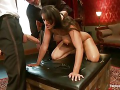 Brunette wench Penny is a serf at a sex party. This babe is made to suck hard cocks, then gets her arse spanked. A large sex tool will solve the situation very well, making her wet crack so wet and hot. The guy sticks his rod in her pussy from behind, but she wants to suck some more and begins engulfing the dildo!