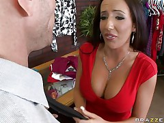 Johnny Sins is getting on one of his workers for trying to  steal something. Look at her lengthy hair, her big corpulent meatballs and the way this playgirl groans whilst this guy licks her hard nipples. Do u think this playgirl is going to take some penis in that obscene mouth?
