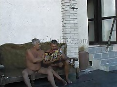 These 2 old farts where looking in a porn magazine when granny Heidrun caught them. As long they were all there they've began fucking and formed a threesome. The granny was nude by the old chaps and they've started to grope her billibongs and massage her saggy cunt. Will they fill her with semen?