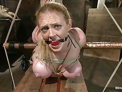 We think this blond floozy needs a lot greater quantity then to be ball gagged and tied. She's a fucking doxy and the rougher we get with her the happier that playgirl is. A hot mistress comes and that playgirl brings a large red sex toy with her, that playgirl uses that sex toy to fill the blonde's pussy and fuck it hard. Like it until here?