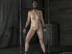 Gagged cutie with clamped teats receives wild pleasure