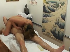 Powerfull guy cums from perverted massage mixed with sex