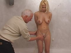 Blond sweetheart teen and old man