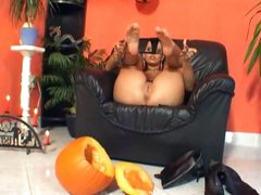 This babe crushes a pumpkin with her feet