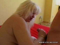 Chubby golden-haired non-professional wife sucks and fucks