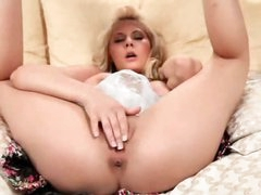 Blonde named Madison fingers her pussy