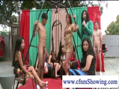 CFNM gals enjoying males in swing ready to be blowed off