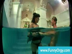 Rich horny cfnm milf gets banged in the pool