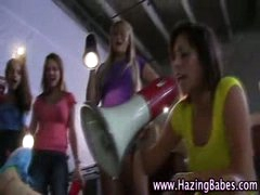 Group of naked legal age teenager sorority girls take up with the tongue cookie