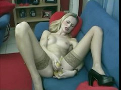 Skinny blonde double penetration with bananas