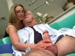 Super hawt beauty in glasses drilled by chubby old man