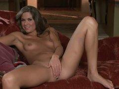 Slim Adrienne Manning takes off her panties