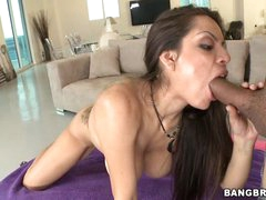 Yurizan Beltran shoves a stiff dick down her face hole