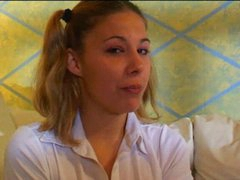 Hot legal age teenager cutie home alone with her friend