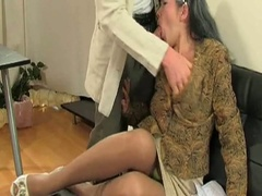 Aged milf in nylons sucks and bonks younger guy