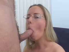 Golden-haired in glasses sucks cock and acquires fur pie pounded