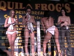 Horny college babes stripping and seducing fellows in hot club