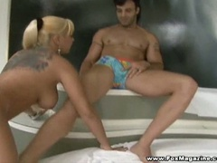 Big boobies golden-haired wench babalu riding huge pecker down her holes
