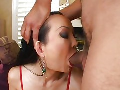 Sassy Ange Venus acquires her moist throat hammered