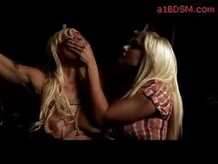 Breasty Blond With Breast Servitude Strangled Mouth Fingered By Femdom-goddess In The Dungeon