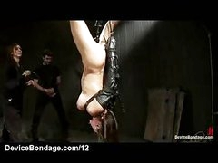 Strung up upside down bound babe mouth drilled