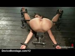 Folded over tied babe caned and teats suctioned