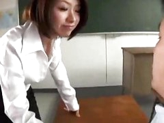 Teacher Giving Irrumation For Her Student In The Classroom