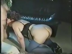 A fat lady receives all dressed up in her slutty lingerie and goes down on all fours. Expecting to be drilled from the back, she's surprised to see the knob in her face. Luckily, she adapts quickly and sucks on it.