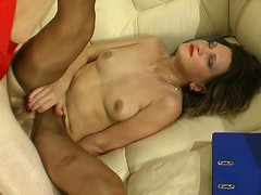 Hot aged chick in shiny tan hose making widen-eagle for mighty schlong