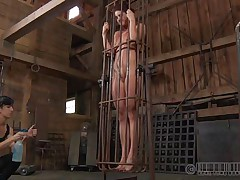 A metal cage and a harsh mastix is all that this bawdy cleft needs to be disciplined. Stick around and have a enjoyment how the mastix plays with this naked girl and how obedient this babe will become. Each nasty floozy merits a treatment like this!
