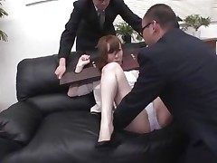 Now here's a concept that works! A horny oriental milf secured with a bondage device seems not assent what's going to happen with her big booty. But after the man cuts her pants with scissors and inserts his finger in her tight shaved asshole that babe suddenly starts moaning and enjoys the treatment.